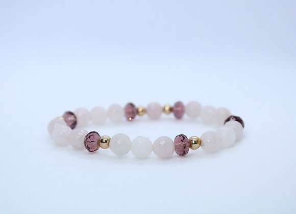 Purple Gem and Quartz Bracelet