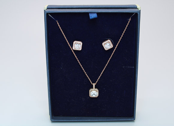 Rose Gold Necklace and Earring Set