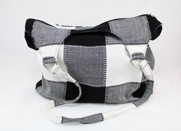 Cultural Black and White Checkered Shoulder Bag