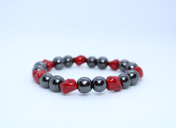 Large Red Stone and Metallic Black Bead Bracelet