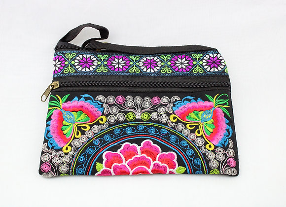 Pink Flower Embroidered Pouch Bag