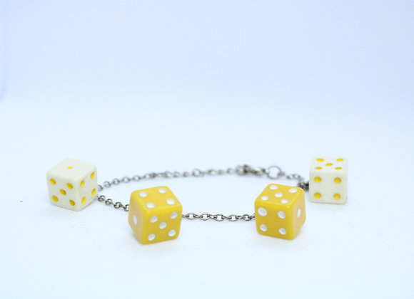 Yellow and White Dice Bracelet