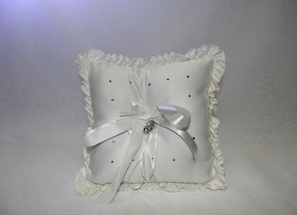 Large White Ring Pillow with Rhinestones and White Ribbon