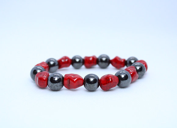 Small Red Stone and Metallic Black Bead Bracelet