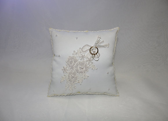 White Ring Pillow with Flower Design