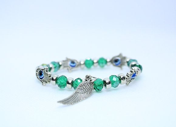 Green Bead and Silver Wing Third Eye Bracelet