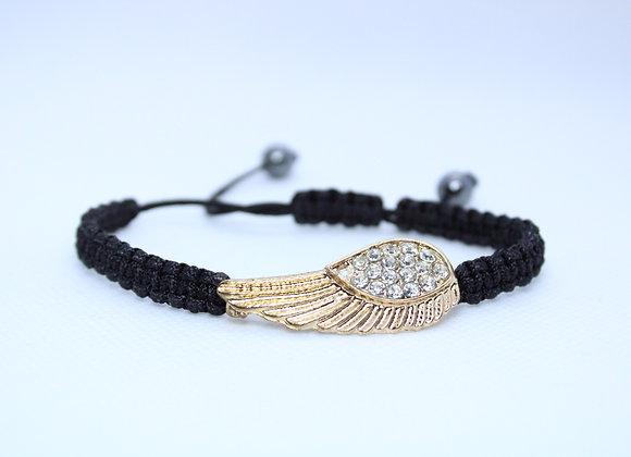 Rhinestone Gold Wing Black Bracelet