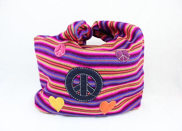Peace and Love Purple Shoulder Bag