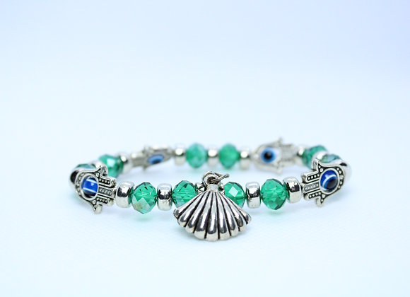 Green Bead and Silver Seashell with Third Eye Bracelet