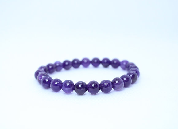 Amethyst Round Purple Bead Bracelet
