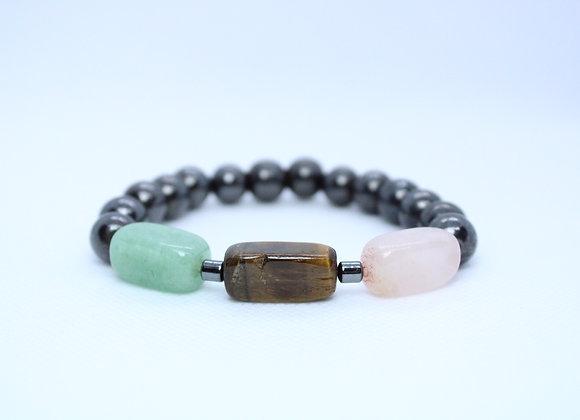Jade Tigers Eye and Rose Quartz Bracelet