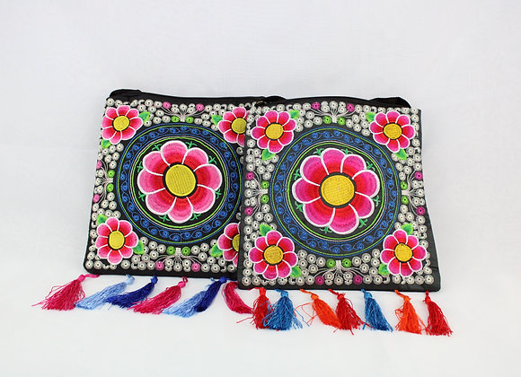 Floral Embroidered Shoulder Bag (Pink Flower w/ Yellow Center)