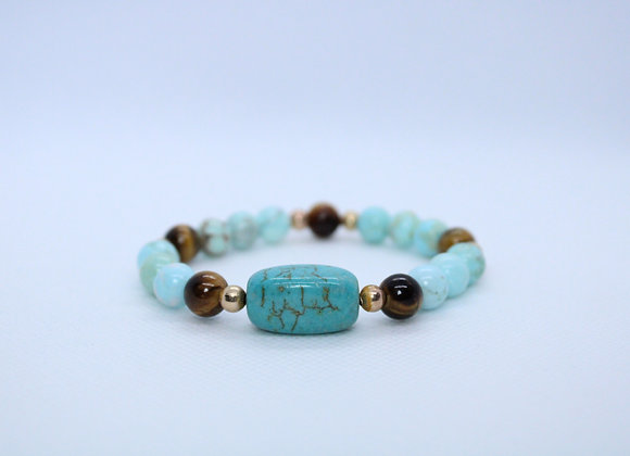Turquoise and Tigers Eye Bracelet