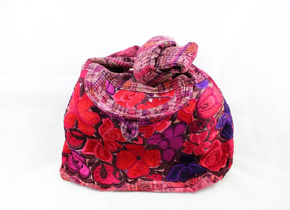 Cross Body Ethnic Bag Flower Design (Violet )