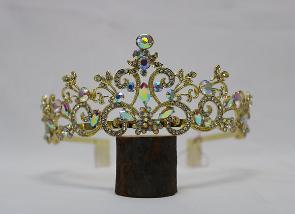 Gold Tiara with AB Rhinestones