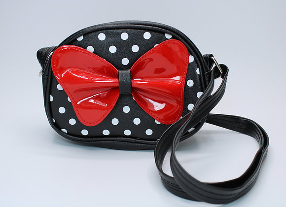 Black Leather Bag with Bow/Polka-Dot