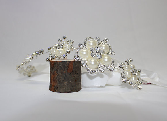 Silver Tiara w/ White Ribbon (Flower Design and Pearls))