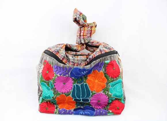 Cross Body Ethnic Bag Flower Design (Pink/Orange)