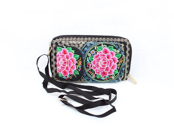Pink Flower Embroidered Cellphone Wallet Bag