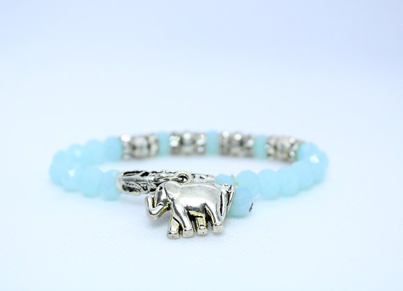 Light Blue and Silver Elephant Bracelet