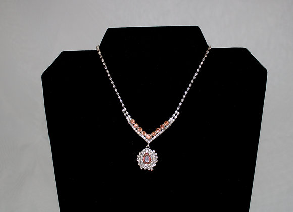 Pink and Silver Rhinestone Necklace and Earring set