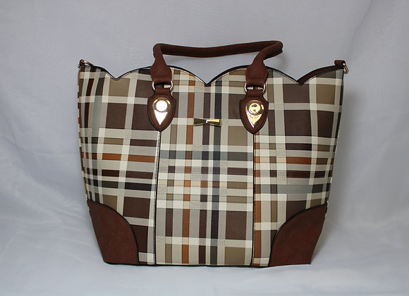 Tan Plaid Brown Strap Leather Bag w/ Mini Bag