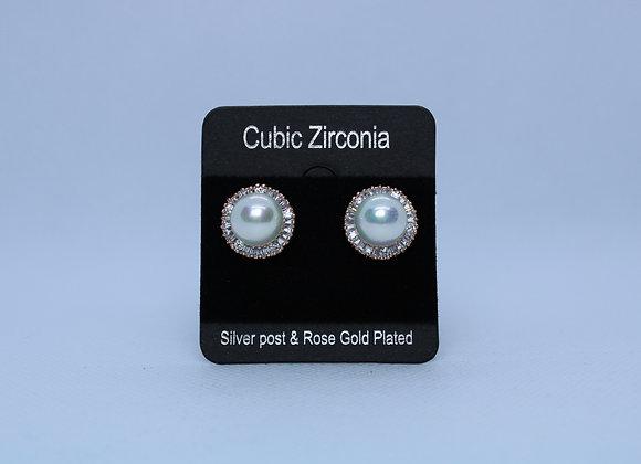Rose Gold Cubic Zirconia w/ Pearl Earrings