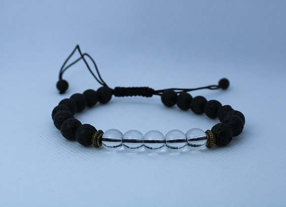 Clear Bead Lava Rock Bracelet
