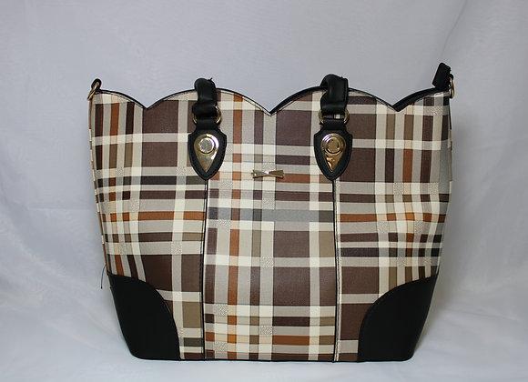 Tan Plaid Black Strap Leather Bag w/ Mini Bag