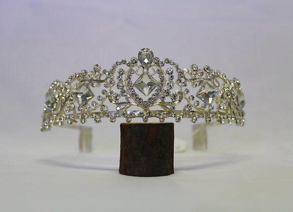 Silver Tiara with Silver Rhinestones