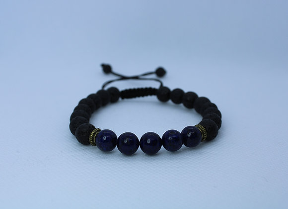 Dark Blue Bead Lava Rock Bracelet