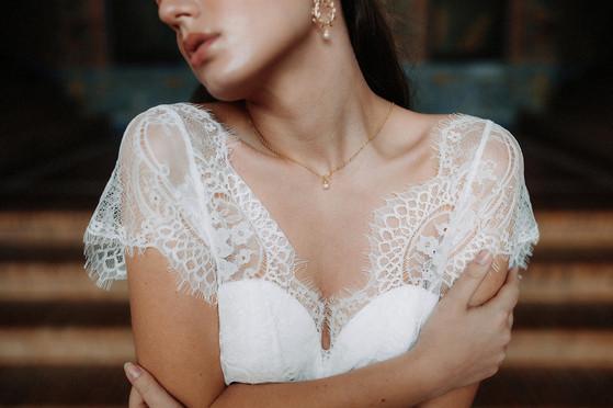 Collier de mariée avec perle naturelle