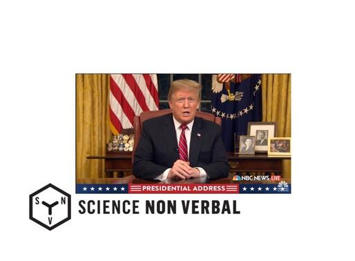 Expressions faciales du président Trump pendant son discours à la nation du 8 janvier 2019
