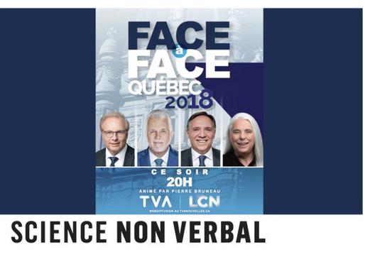 """Expressions faciales des chefs lors du débat """"Face-à-Face Québec 2018"""" du 20 septembre 2018"""