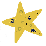 YELLOW GOLD STAR WITH green blue squiggl