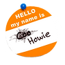 orange name tag cookie crossed out for h