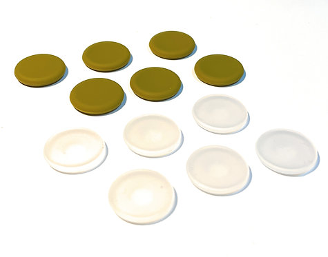 Button Covers (12 pack Olive/Clear)