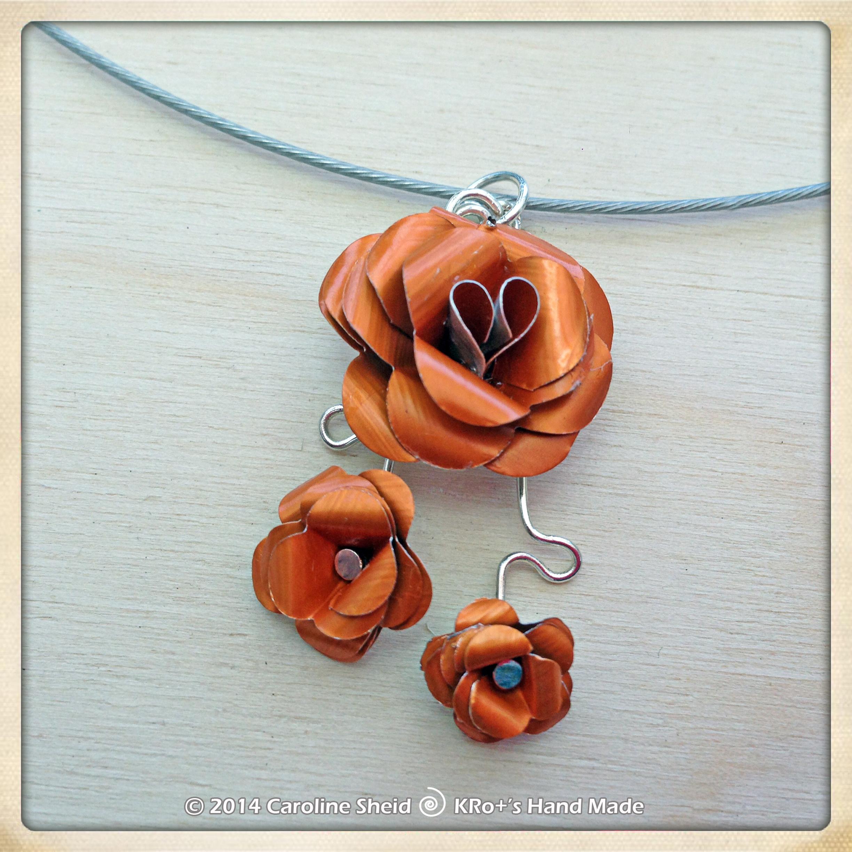 Collier Trio Orange (détail)