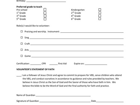 2019 VBS Youth Volunteer Form