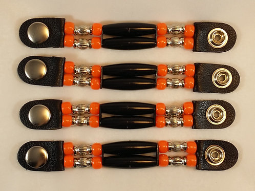 orange vest extender, motorcycle accessories, snap extender, motorcycle gifts,leather vest, beaded vest extender, harley