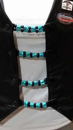Turq beads with Blk Pony Vest