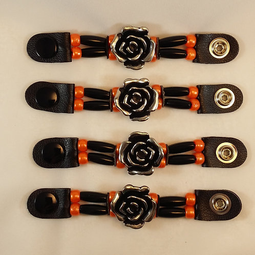 Set of 4 Orange/Black & Rose Beaded Vest Extenders
