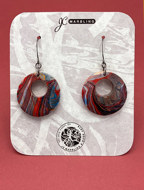 Double Marbled Wood Earring Set