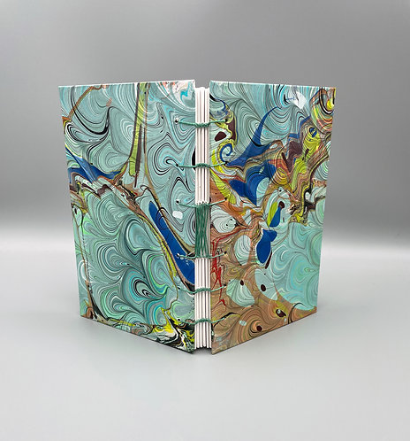Small Sketchbook with French Link Double Marbled paper