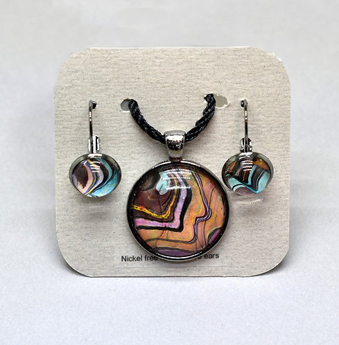 Double Marbled Earring and Pendant Set