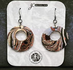Marbled Wood Earring Set