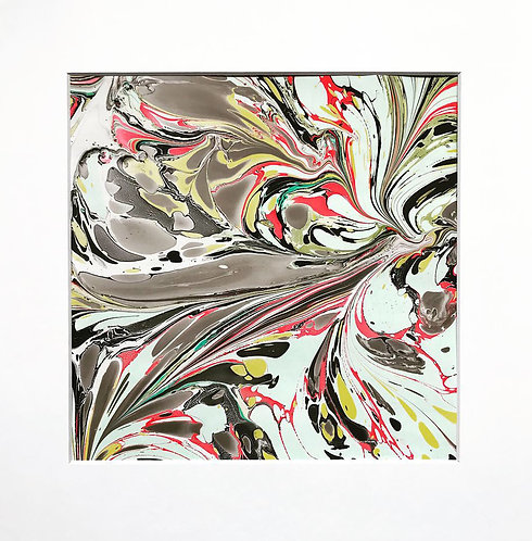 Marbled print matted and framed (black with red and variations of green)