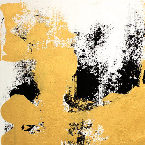 """# 9 """"GOLD AND BLACK MOVEMENT ON WHITE""""  57 x 44 x 1.5"""