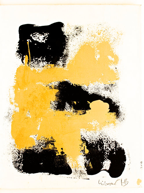 """#8 """"GOLD AND BLACK ON WHITE 1""""    44.5 x 57 x 1.5"""