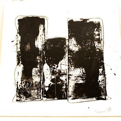 """#10 SOLD """"3 BLACK BARS ON WHITE 1""""  60 x 58 x 1.5"""